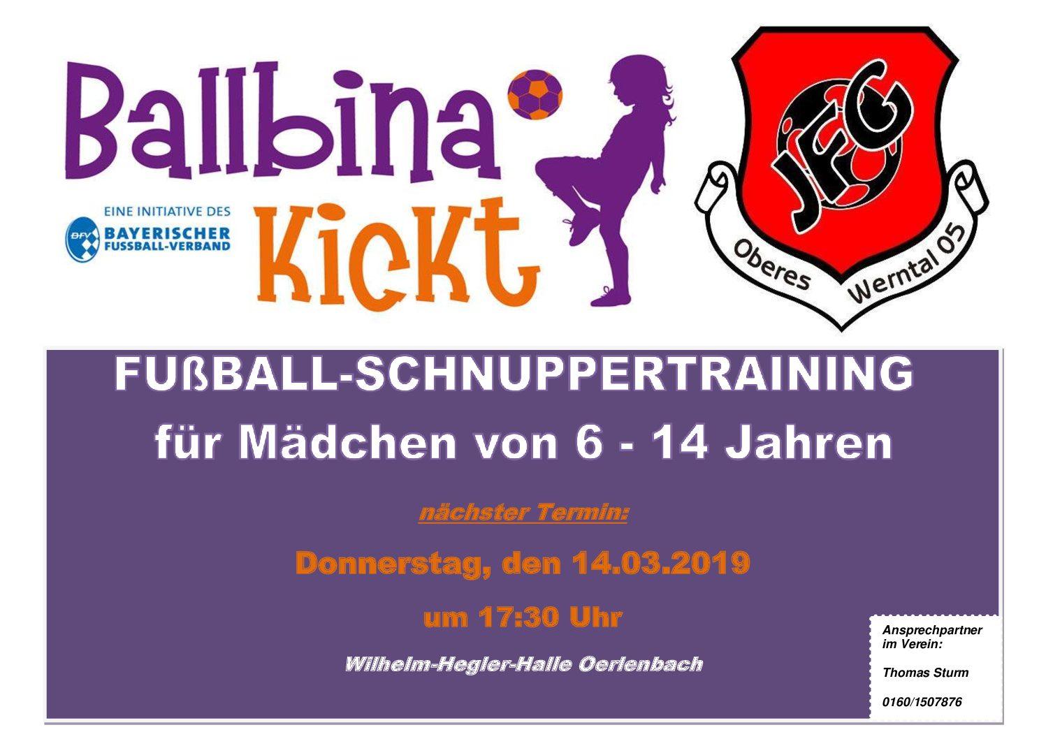 Ballbina kickt – Fußballschnuppertraining für Mädchen